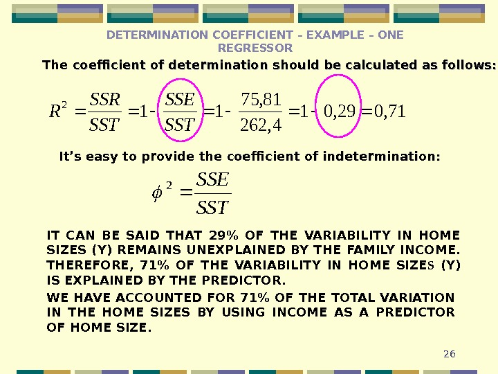 26 The coefficient of determination should be calculated as follows: 71, 029, 01 4, 262 81,