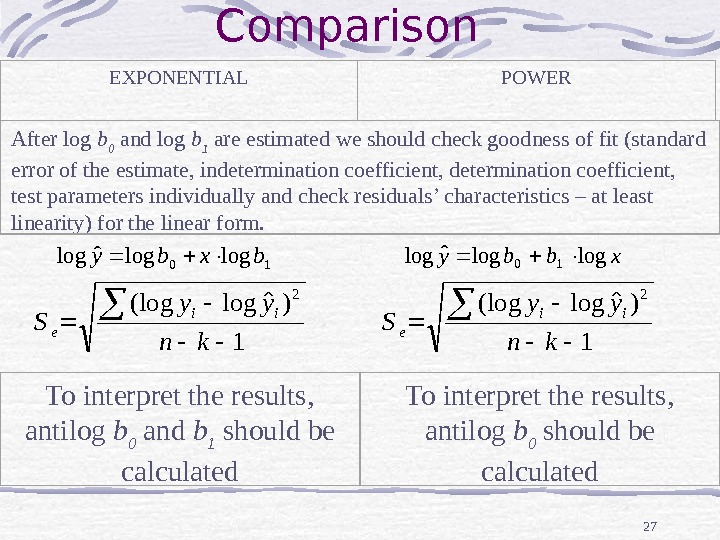 27 Comparison EXPONENTIAL POWER After log b 0  and log b 1 are estimated we