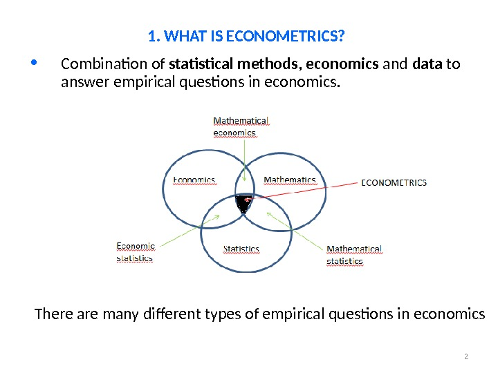 2 • Combination of statistical methods ,  economics and data to answer empirical questions in