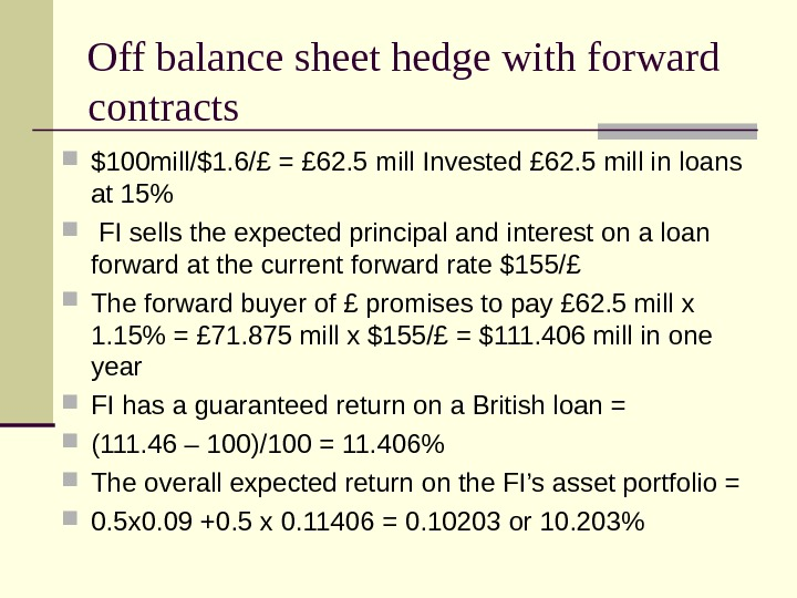 Off balance sheet hedge with forward contracts $100 mill/$1. 6/£ = £ 62. 5