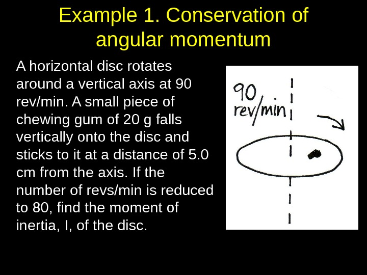Example 1. Conservation of angular momentum A horizontal disc rotates around a vertical axis at 90