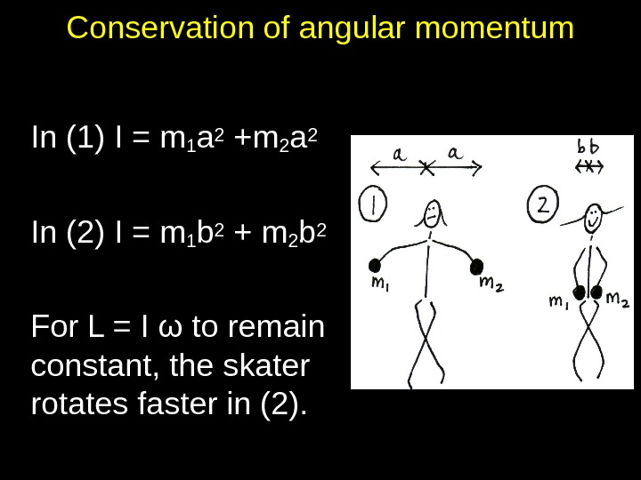 Conservation of angular momentum In (1) I = m 1 a 2 +m 2 a 2