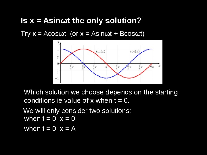 Is x = Asin ω t the only solution? Try x = Acos ω t (or