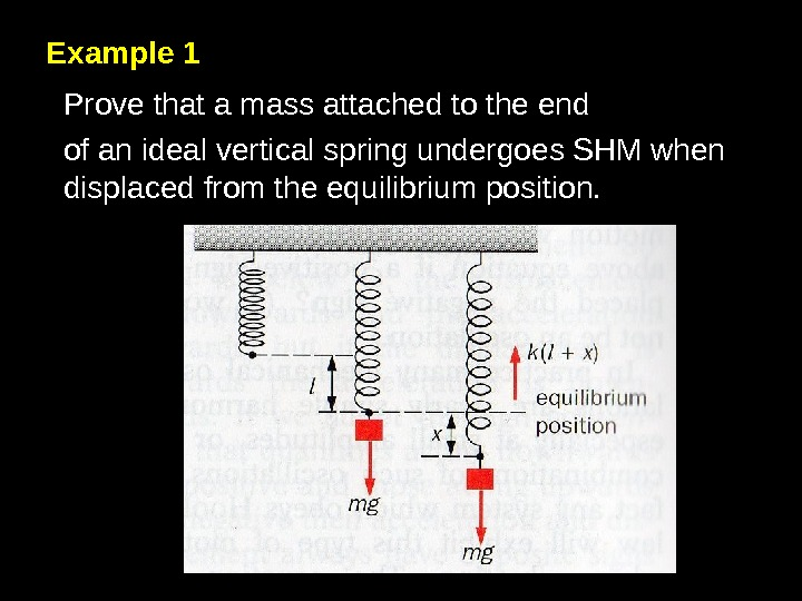 Example 1 Prove that a mass attached to the end of an ideal vertical spring undergoes