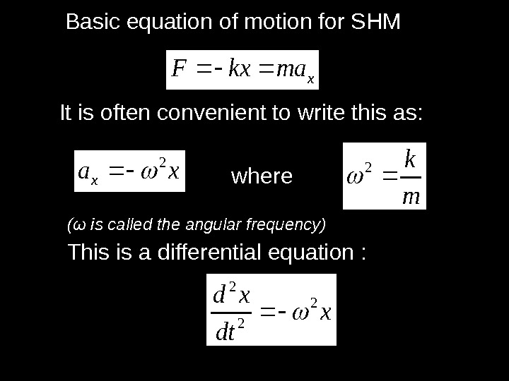 xmakx. FBasic equation of motion for SHM It is often convenient to write this as: