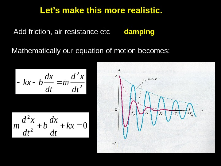 Let's make this more realistic. Add friction, air resistance etc damping Mathematically our equation of motion