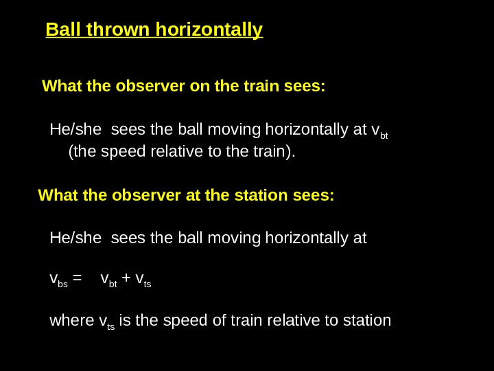 What the observer on the train sees:  He/she sees the ball moving horizontally at v