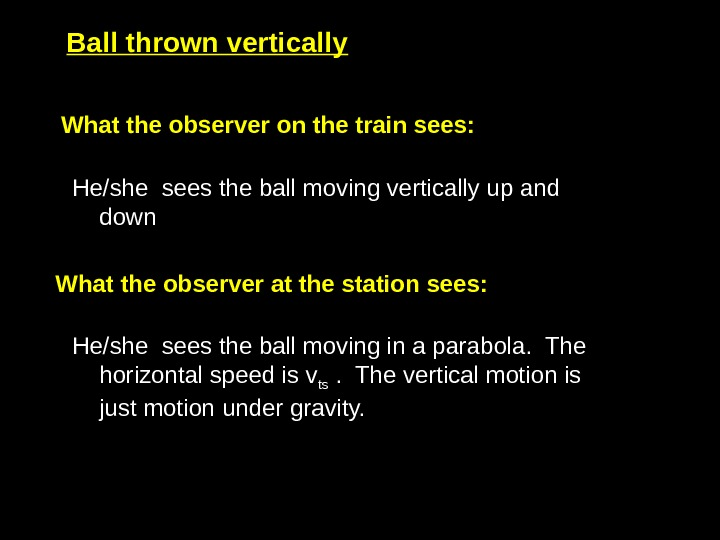 What the observer on the train sees:  He/she sees the ball moving vertically up and