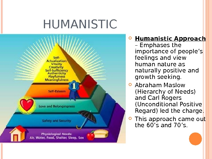 HUMANISTIC Humanistic Approach  – Emphases the importance of people's feelings and view human nature as