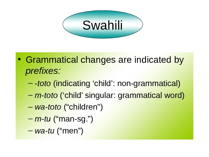 • Grammatical changes are indicated by prefixes: – - toto (indicating 'child': non-grammatical) –