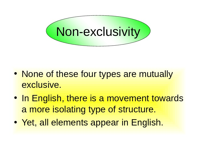• None of these four types are mutually exclusive. • In English, there is
