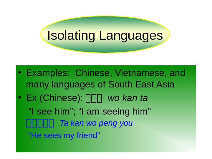 • Examples:  Chinese, Vietnamese, and many languages of South East Asia • Ex