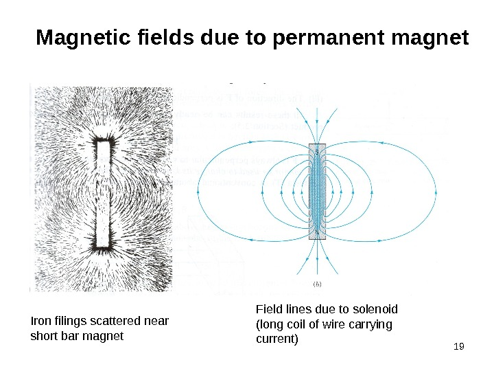 19 Magnetic fields due to permanent magnet Iron filings scattered near short bar magnet Field lines