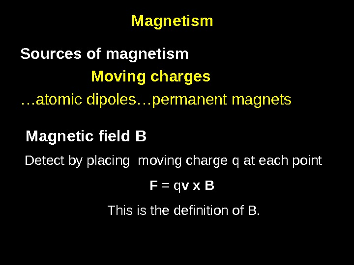 3 Magnetism Sources of magnetism Moving charges … atomic dipoles…permanent magnets Magnetic field B Detect by