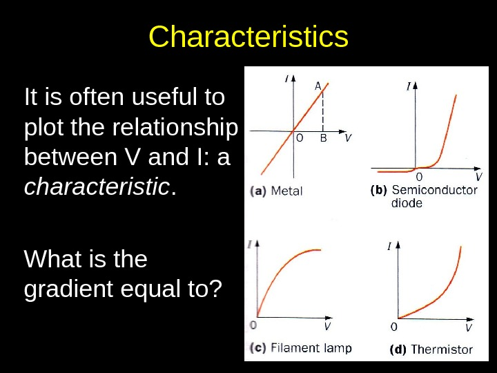Characteristics It is often useful to plot the relationship between V and I: a characteristic. What