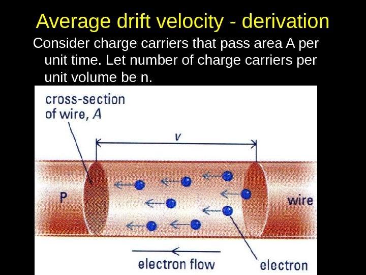 Average drift velocity - derivation Consider charge carriers that pass area A per unit time. Let