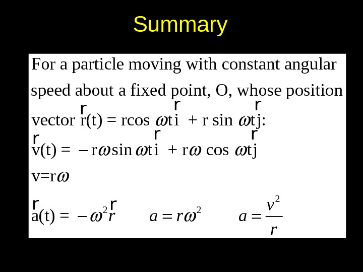 Summary 2 2 2 For a particle moving with constant angu lar speed about a fixed