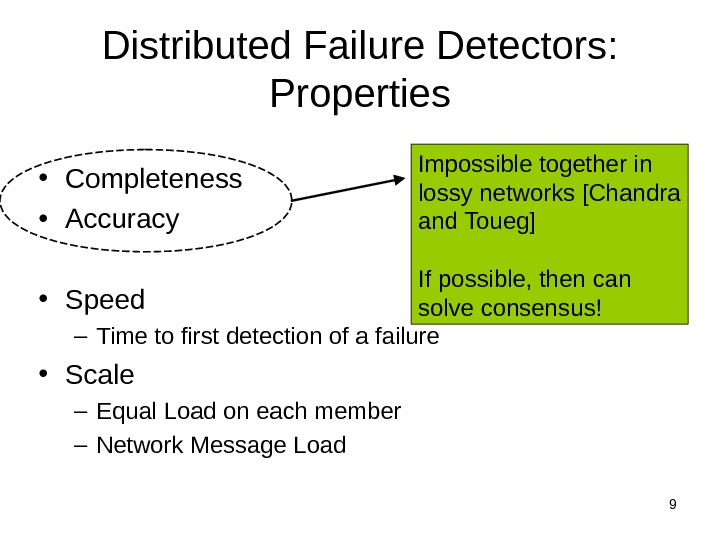9 Distributed Failure Detectors:  Properties • Completeness • Accuracy • Speed – Time to first