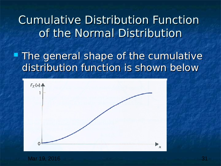Mar 19, 2016  31 Cumulative Distribution Function of the Normal Distribution The general shape of