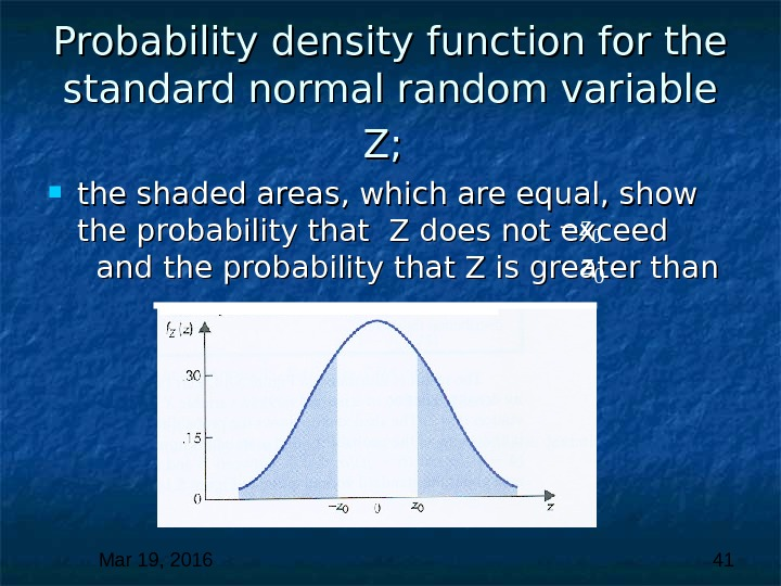 Mar 19, 2016  41 Probability density function for the standard normal random variable Z; Z;