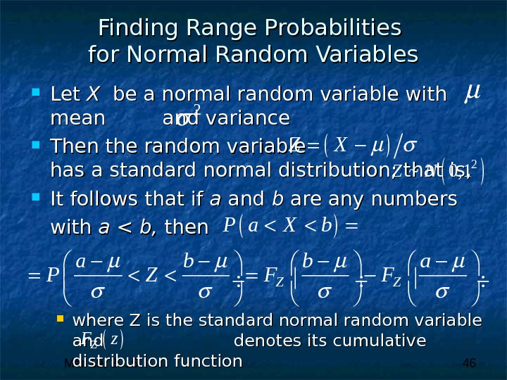 Mar 19, 2016  46 Finding Range Probabilities for Normal Random Variables Let X X