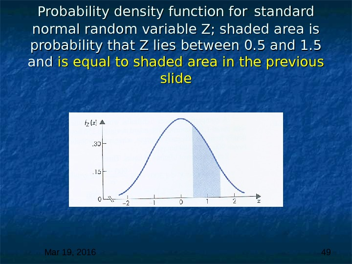 Mar 19, 2016  49 Probability density function for  standard normal random variable Z; shaded