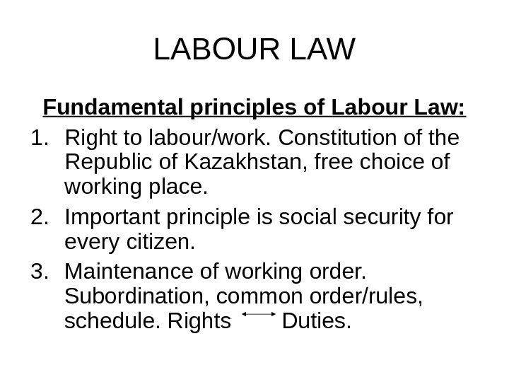 LABOUR LAW Fundamental principles of Labour Law: 1. Right to labour/work. Constitution of the Republic of