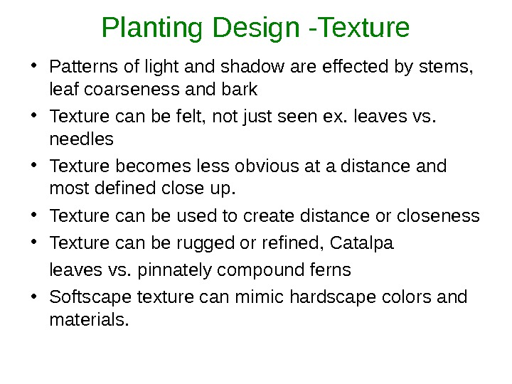 Planting Design -Texture • Patterns of light and shadow are effected by stems,  leaf coarseness