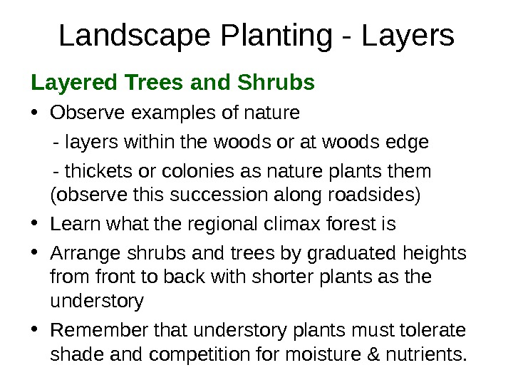 Landscape Planting - Layers Layered Trees and Shrubs • Observe examples of nature - layers within