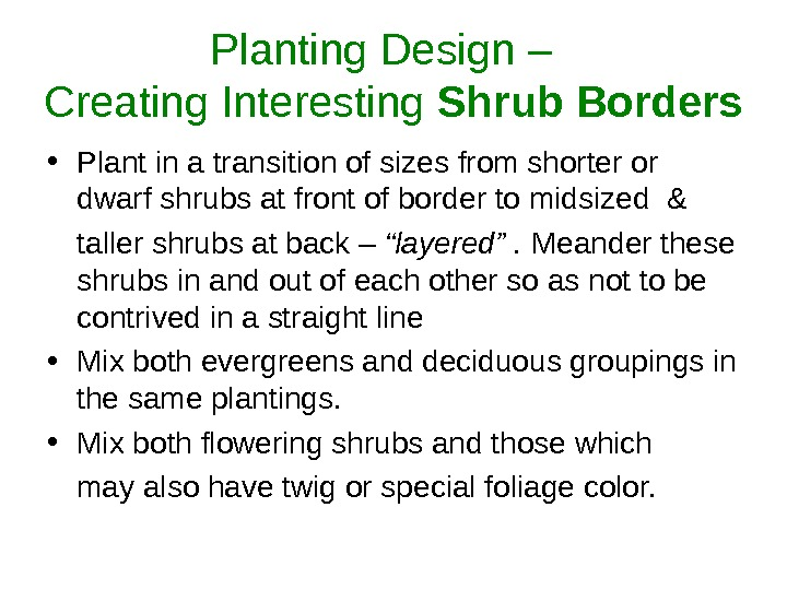 Planting Design –  Creating Interesting Shrub Borders • Plant in a transition of sizes from