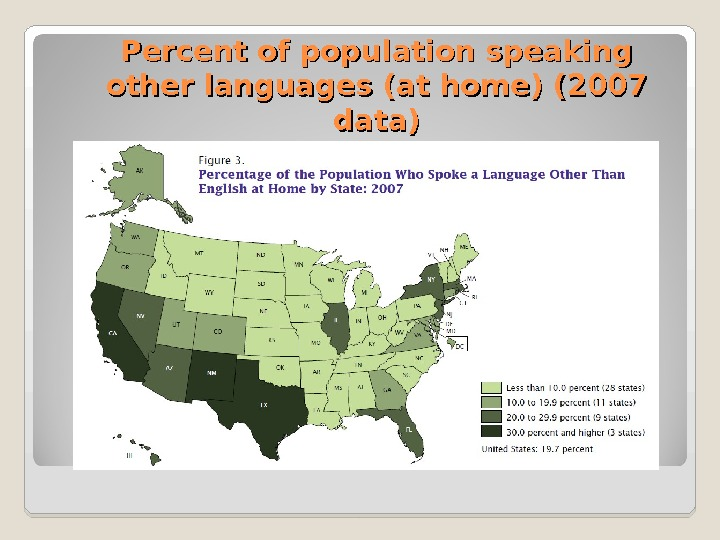 Percent of population speaking other languages  (at home) (2007 data)