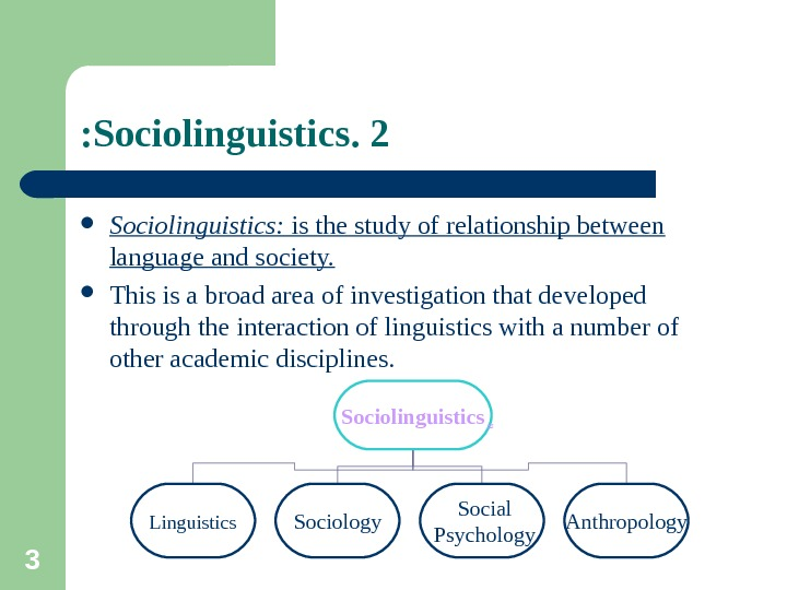 3 2. Sociolinguistics:  is the study of relationship between language and society.  This is