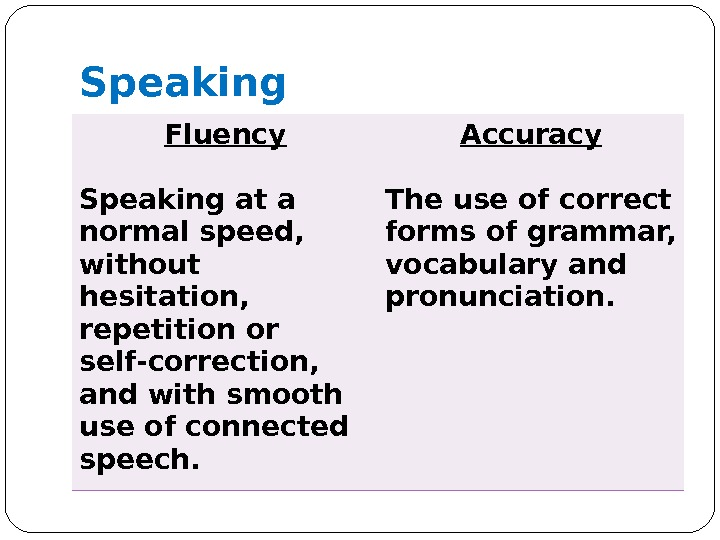 Speaking Fluency Speaking at a normal speed,  without hesitation,  repetition or self-correction,  and