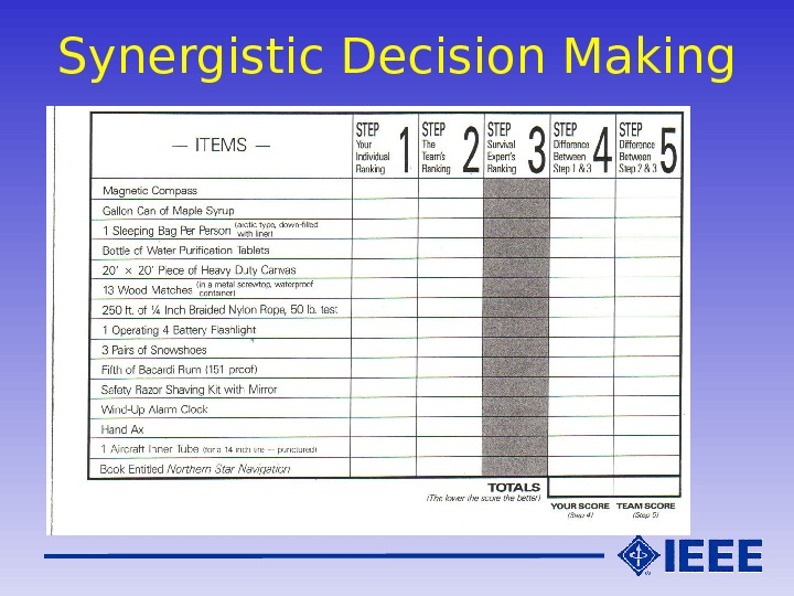 Synergistic Decision Making