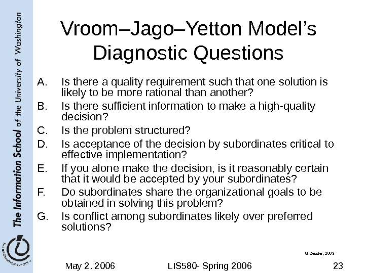 May 2, 2006 LIS 580 - Spring 2006 23 Vroom–Jago–Yetton Model's Diagnostic Questions A. Is there