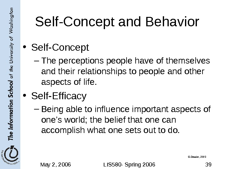 May 2, 2006 LIS 580 - Spring 2006 39 Self-Concept and Behavior • Self-Concept – The