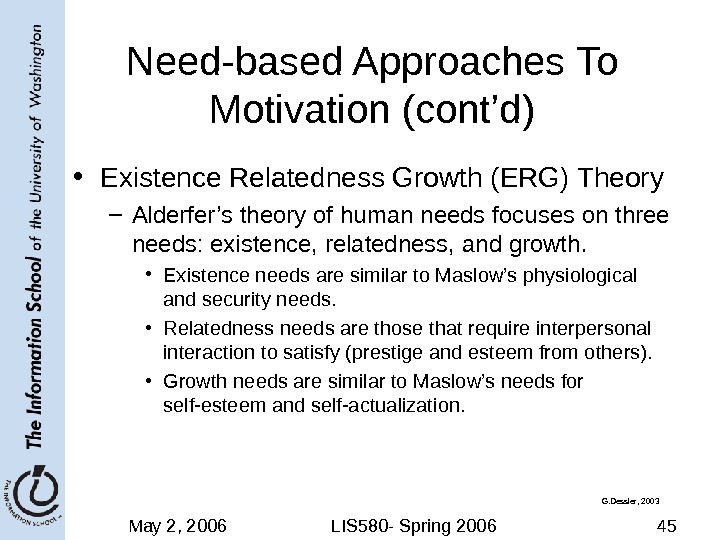 May 2, 2006 LIS 580 - Spring 2006 45 Need-based Approaches To Motivation (cont'd) • Existence