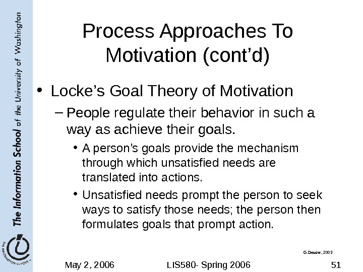 May 2, 2006 LIS 580 - Spring 2006 51 Process Approaches To Motivation (cont'd) • Locke's