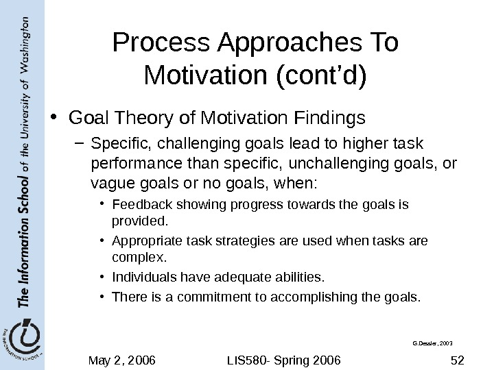 May 2, 2006 LIS 580 - Spring 2006 52 Process Approaches To Motivation (cont'd) • Goal