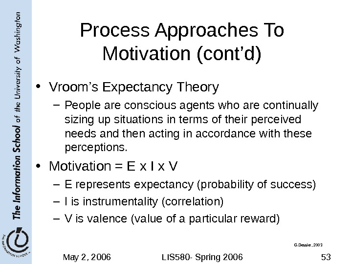 May 2, 2006 LIS 580 - Spring 2006 53 Process Approaches To Motivation (cont'd) • Vroom's