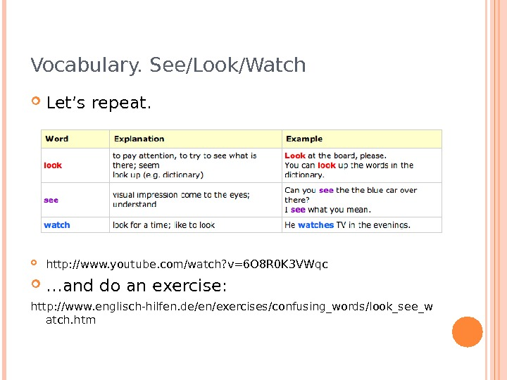 Vocabulary. See/Look/Watch Let's repeat.  http: //www. youtube. com/watch? v=6 O 8 R 0 K 3