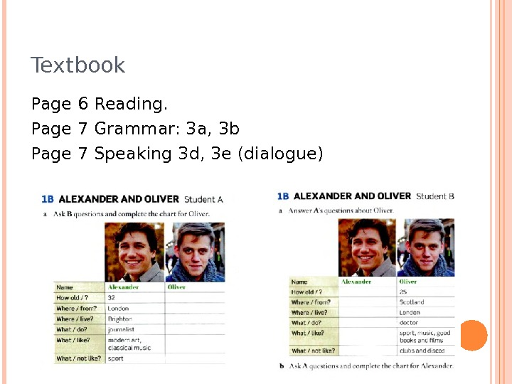 Textbook Page 6 Reading.  Page 7 Grammar: 3 a, 3 b Page 7 Speaking 3