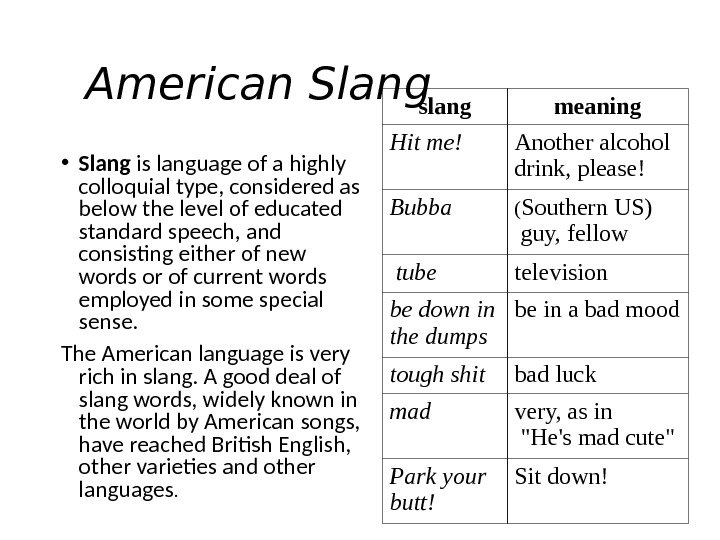 American Slang • Slang is language of a highly colloquial type, considered as below the level