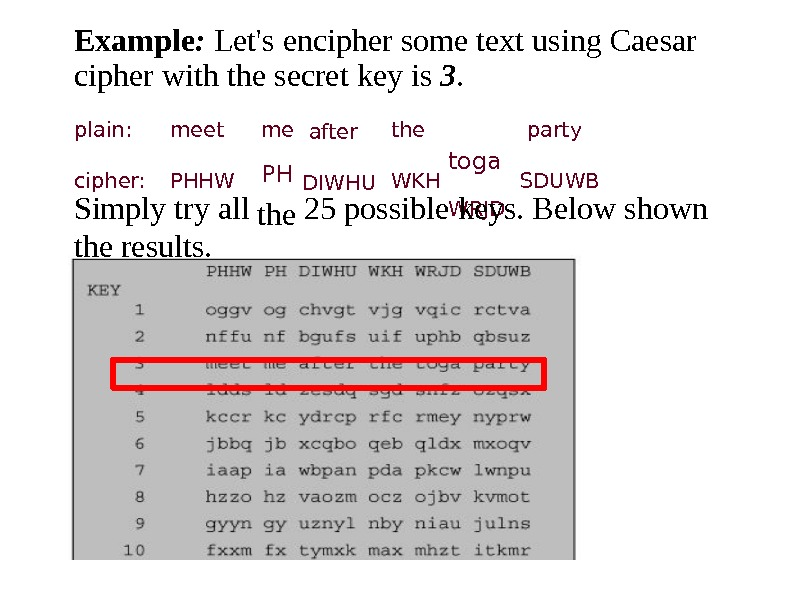 Exampl e :  L et ' s encipher  some t e xt using C
