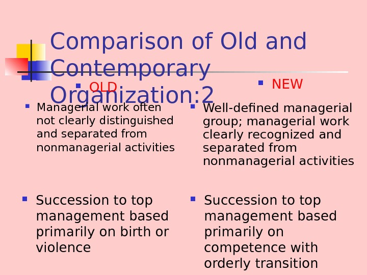 Comparison of Old and Contemporary Organization : 2 Managerial work often not clearly distinguished