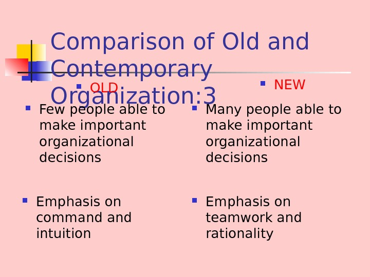 Comparison of Old and Contemporary Organization : 3 Few people able to make important