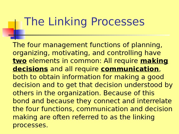 The Linking Processes The four management functions of planning,  organizing, motivating, and controlling