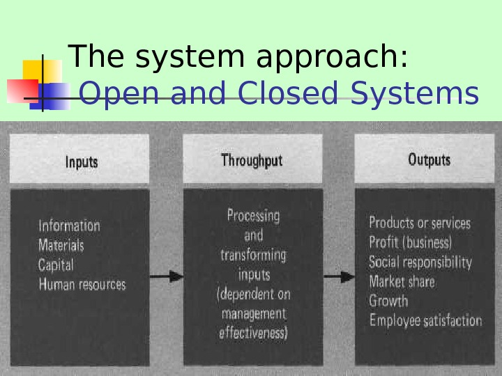 The system approach:  Open and Closed Systems