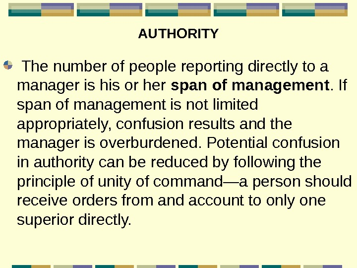 AUTHORITY  The number of people reporting directly to a manager is his or