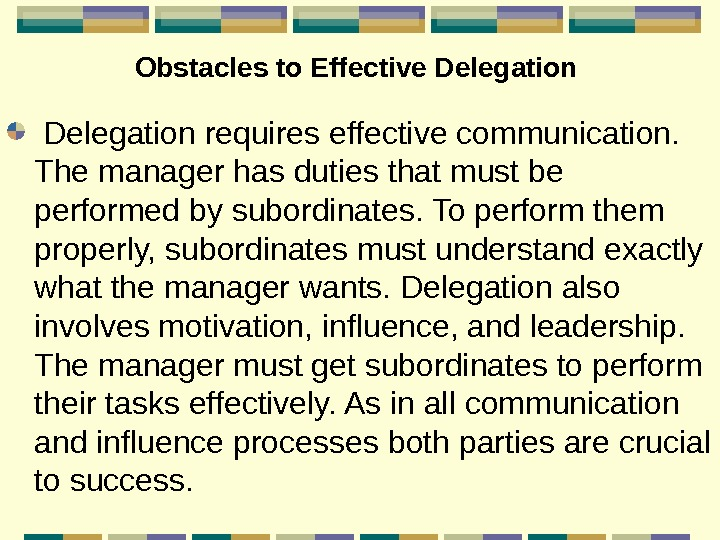 Obstacles to Effective Delegation requires effective communication.  The manager has duties that must